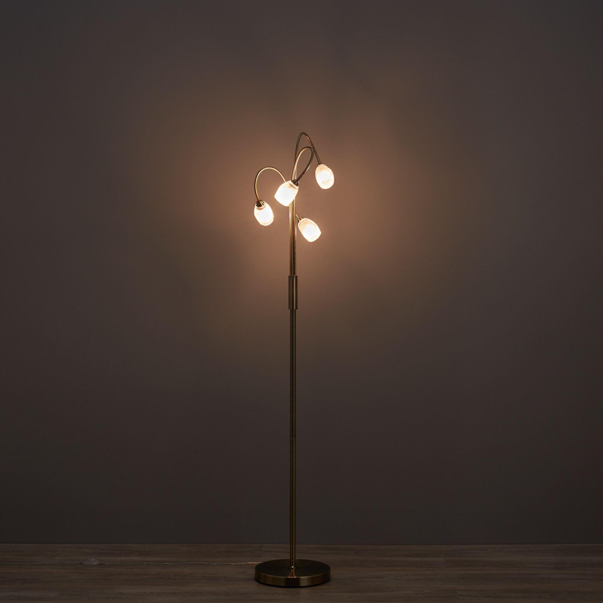 Forbes Swirl Antique Brass Effect Floor Light