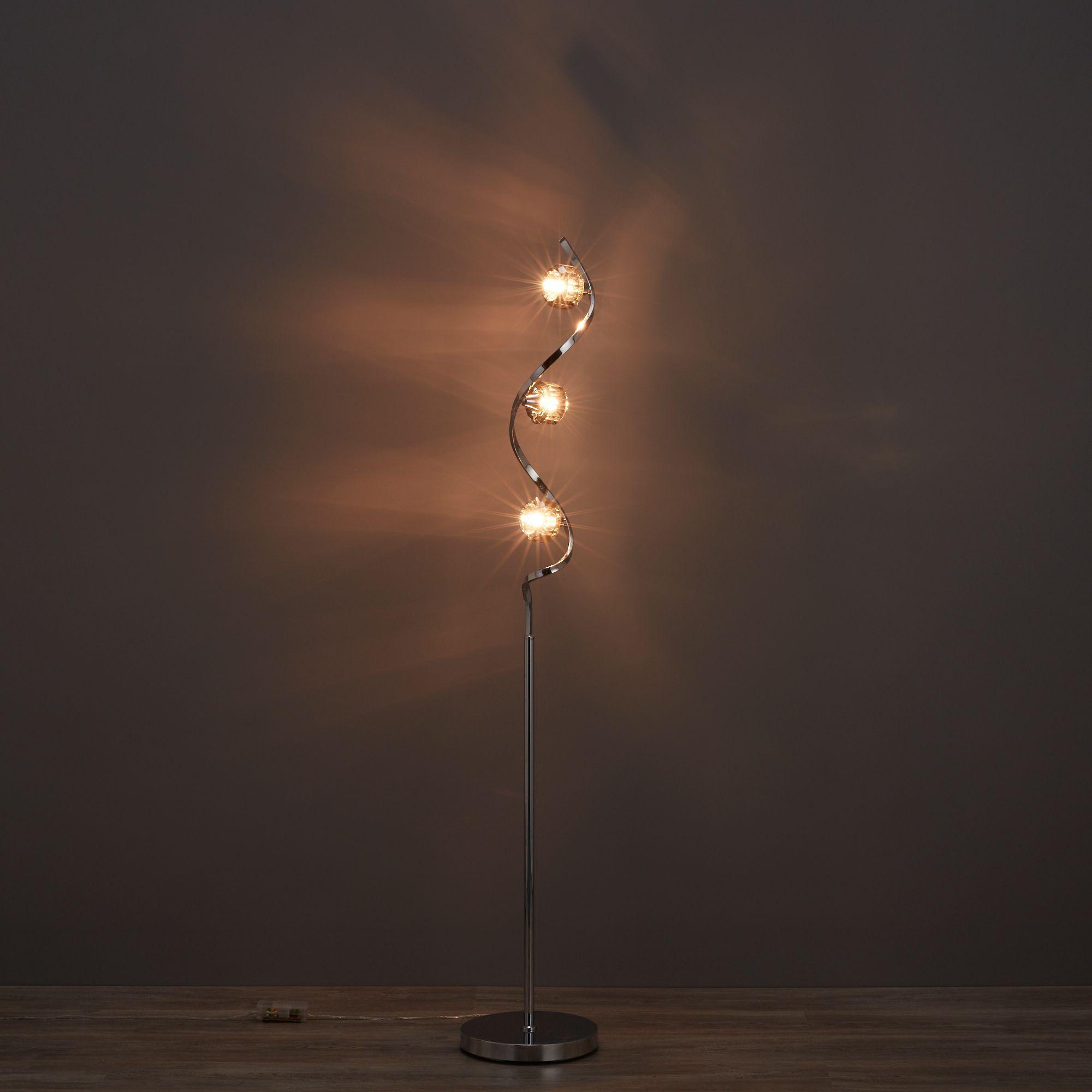 Allyn Swirl Chrome effect Floor light
