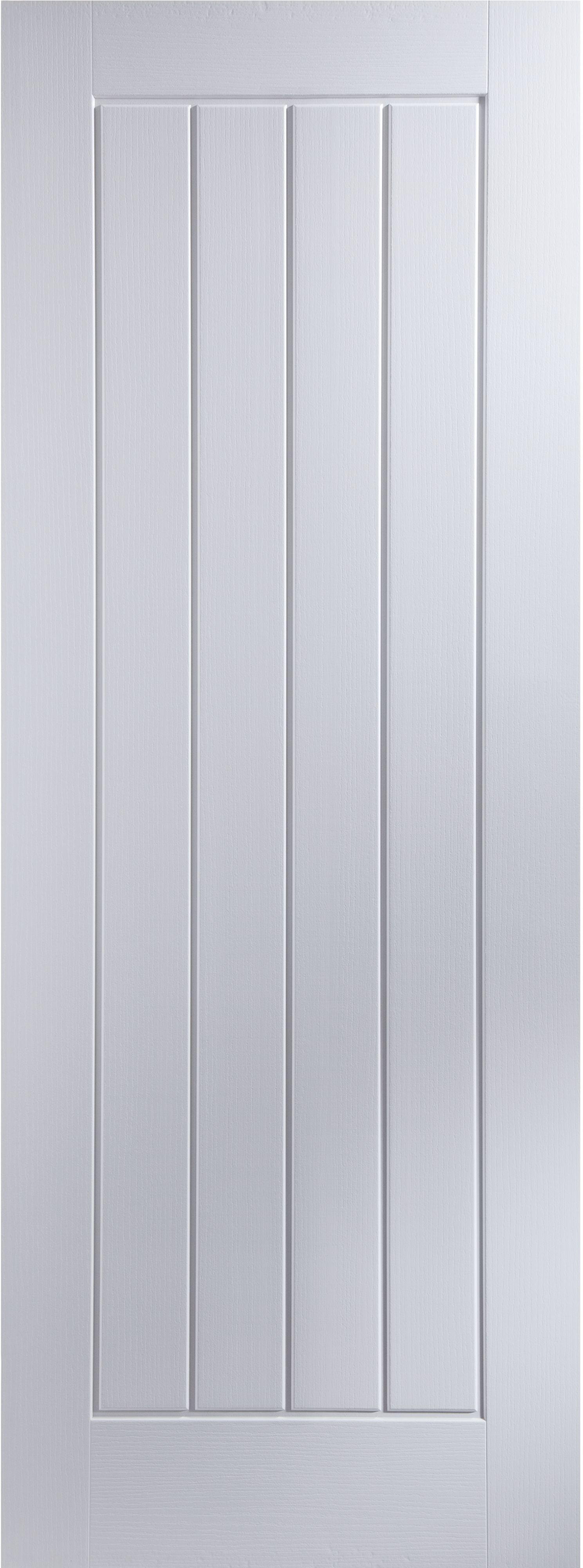 Cottage Panel Primed Woodgrain Unglazed Internal Fire Door,