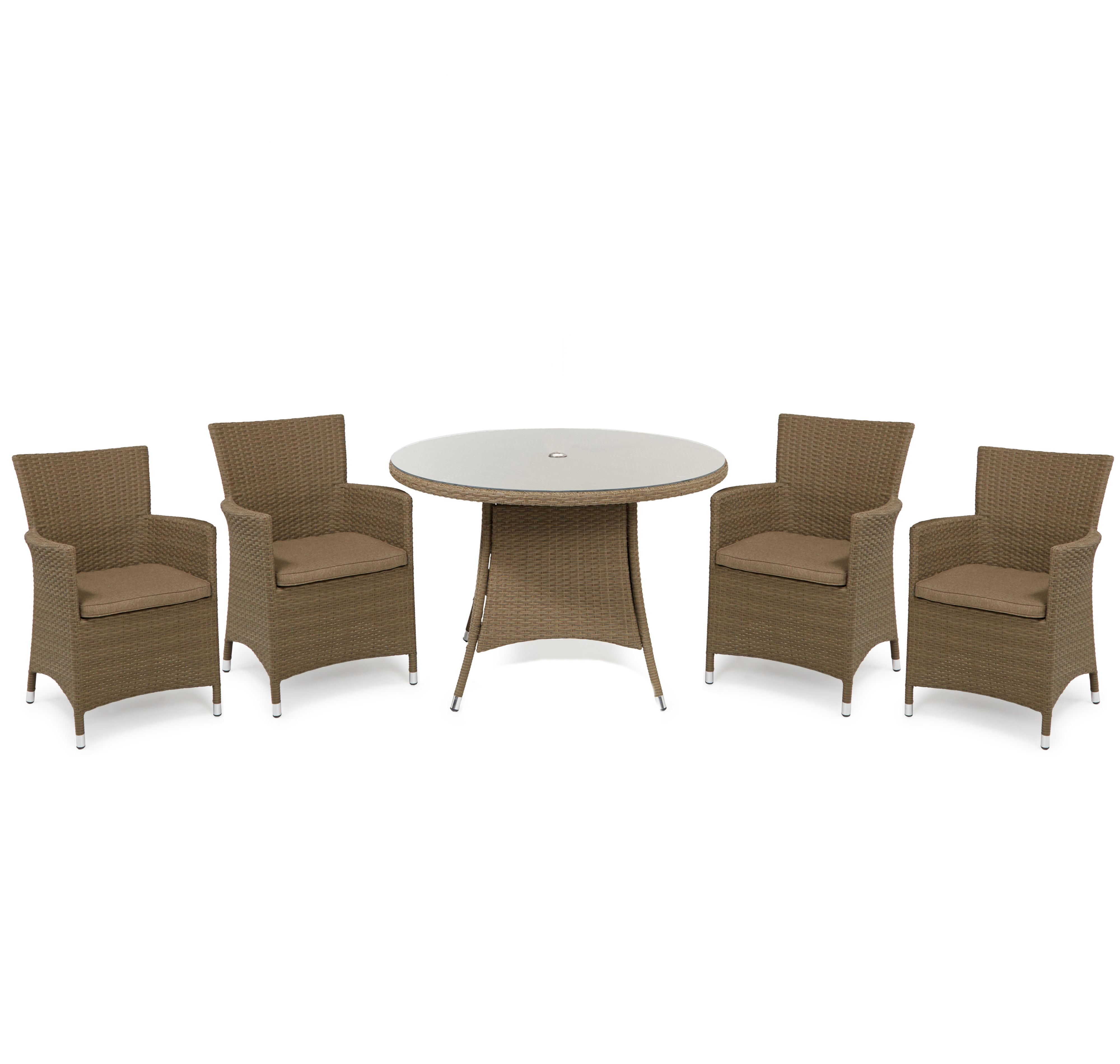 Henley Rattan Effect 4 Seater Dining Set Departments Diy At B Q