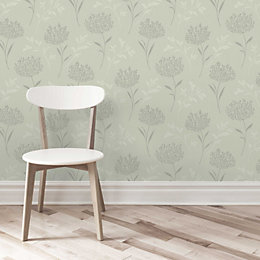 Agapanthus Green Floral Glitter Effect Wallpaper