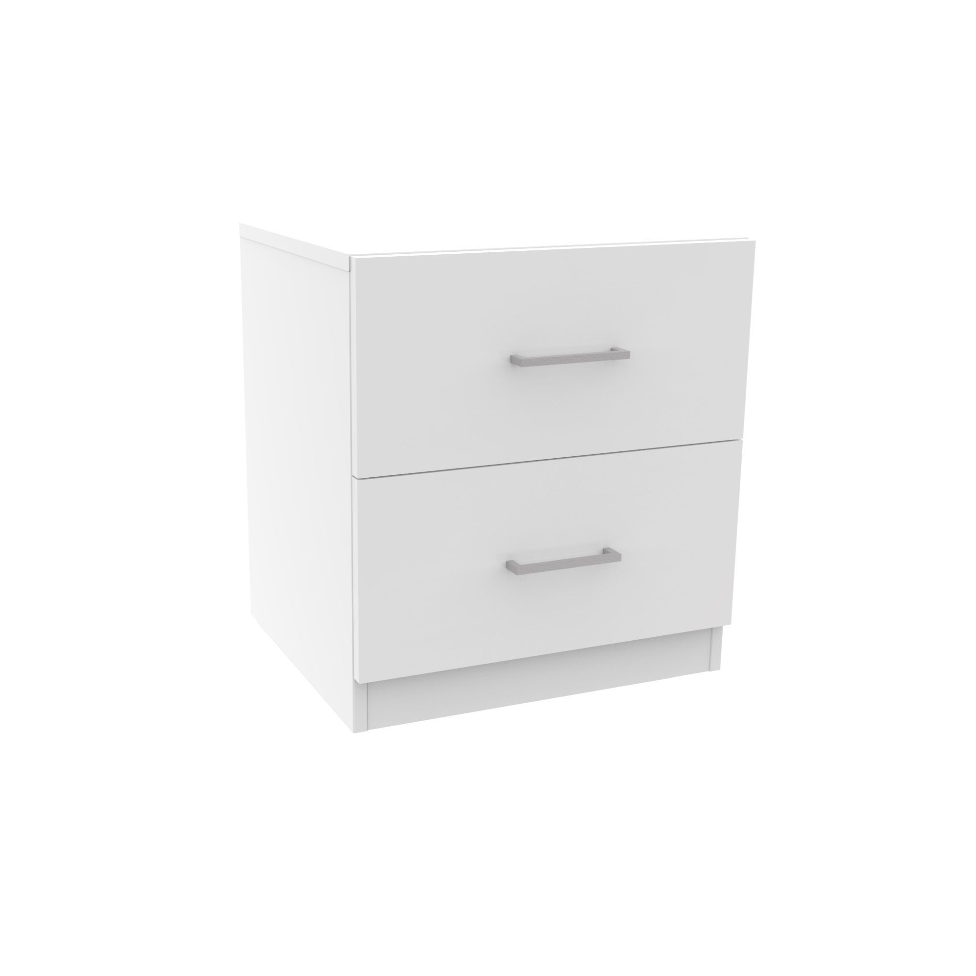 Darwin Gloss White 2 Drawer Bedside Chest H 548mm W 500mm D 420mm Departments Diy At B Q