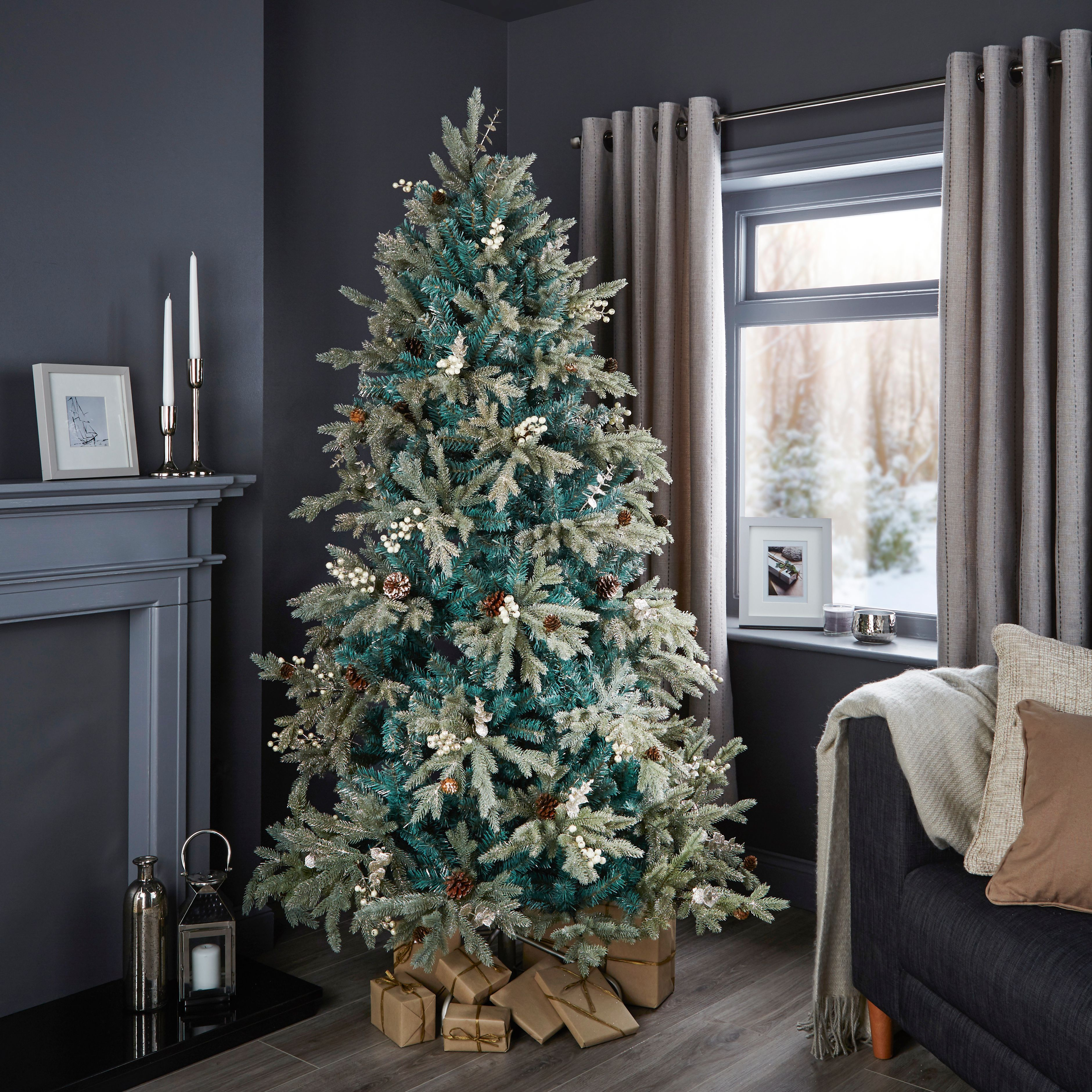6ft 6In Winterfold Mint Green Pre-Decorated Christmas Tree | Departments |  DIY at B&Q