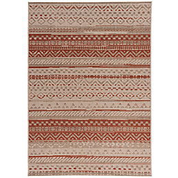 Colours Orla Rust & Beige Striped Rug (L)1.7M