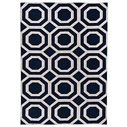 Colours Athena Silver & Blue Geometric Rug (L)1.7M