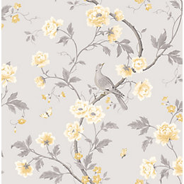 Colours Dorthea Soft Grey Floral Mica Effect Wallpaper