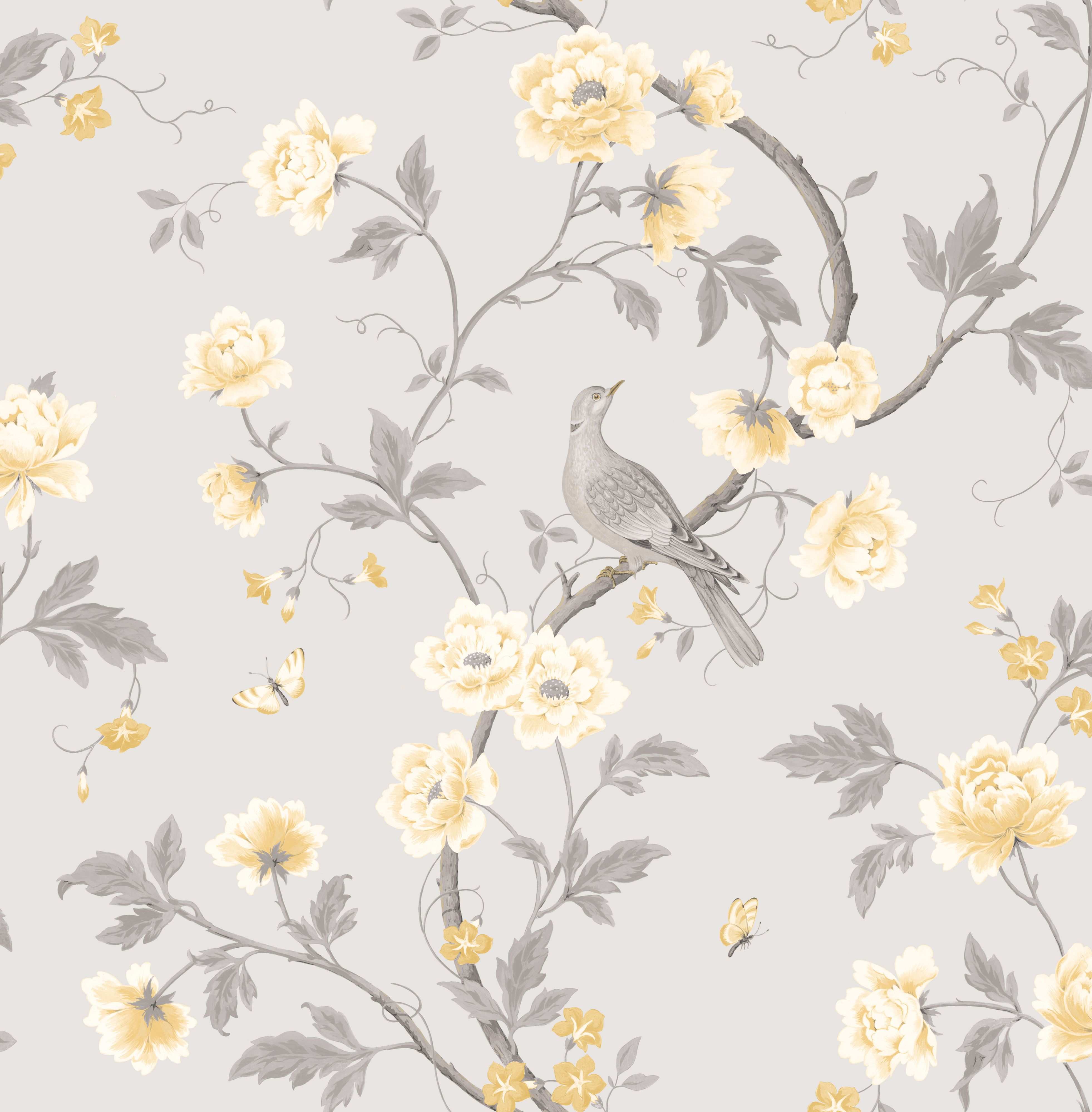Colours Dorthea Soft Grey Floral Mica Effect Smooth Wallpaper Departments Diy At B Q