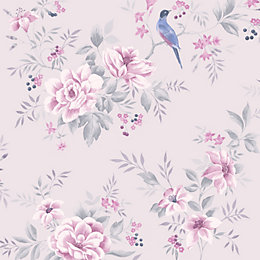 Colours Liora Purple Birds on floral trail Glitter