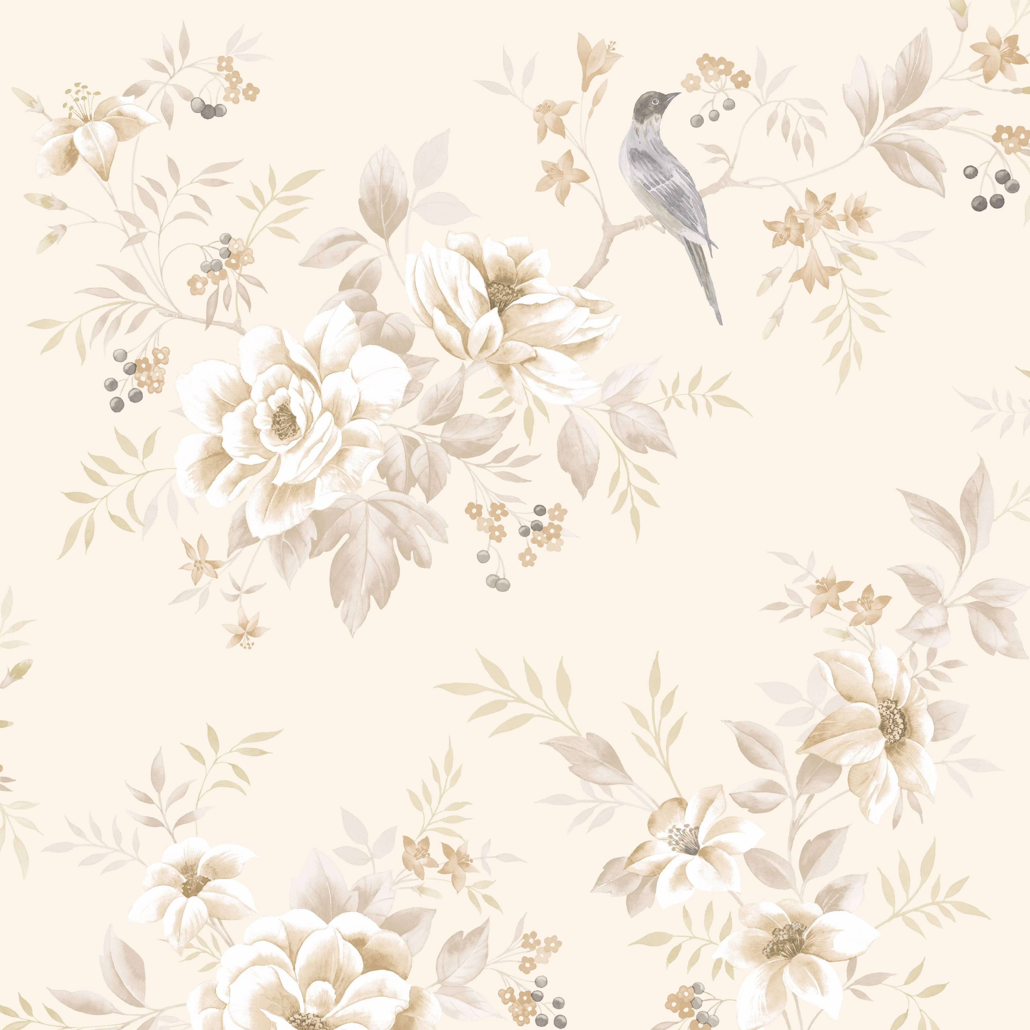 Colours Liora Natural Birds On Floral Trail Glitter