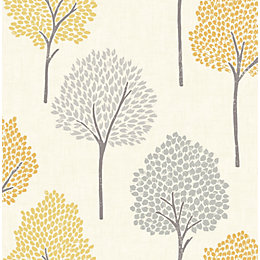 Colours Eula Grey & Yellow Forest Wallpaper