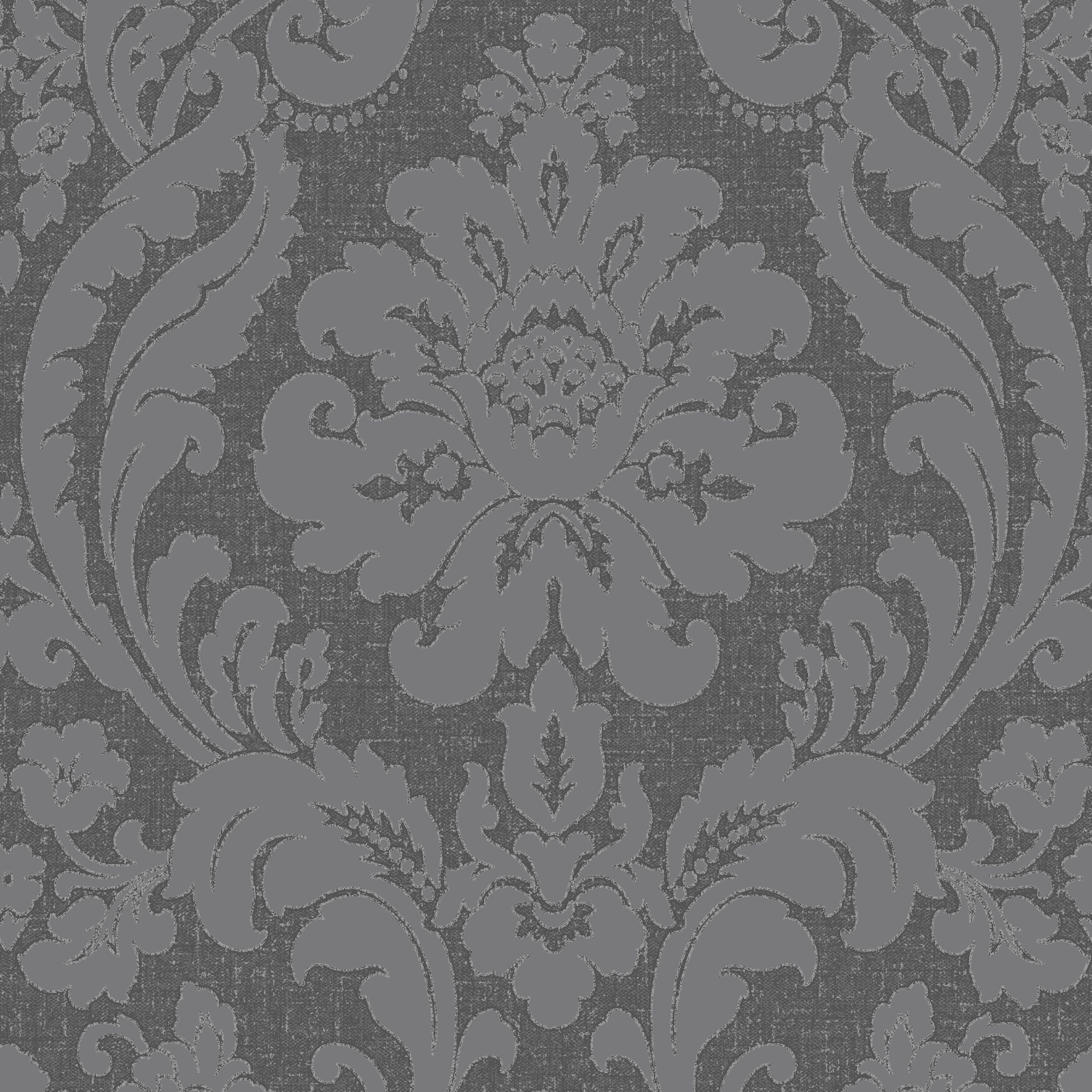 Colours Zara Charcoal Damask Glitter Effect Wallpaper