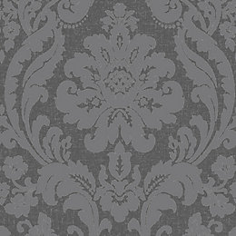 Colours Zara Charcoal Damask Glitter Effect Wallpaper