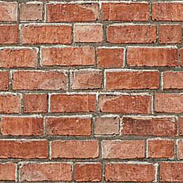 Colours Red Brick effect Wallpaper