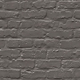Colours Black Painted Brick Wallpaper