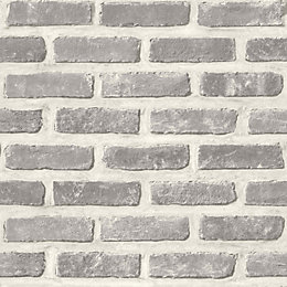Colours Grey Faux Brick Wallpaper