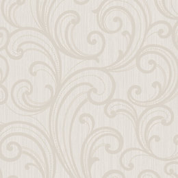 Colours Sarika Brown & Taupe Scroll Textured Wallpaper