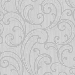 Colours Sarika Grey Scroll Textured Wallpaper