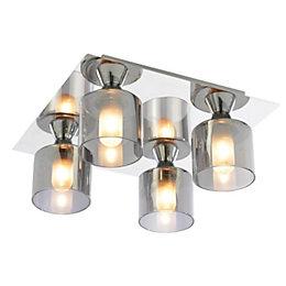 Cobark Smoked Effect 4 Lamp Bathroom Ceiling Light