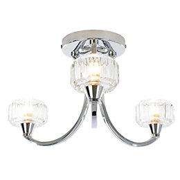 Orara Chrome effect 3 Lamp Bathroom ceiling light