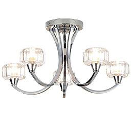 Orara Chrome effect 5 Lamp Bathroom ceiling light