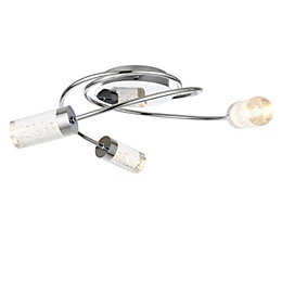 Hubble Chrome effect 3 Lamp Bathroom ceiling light
