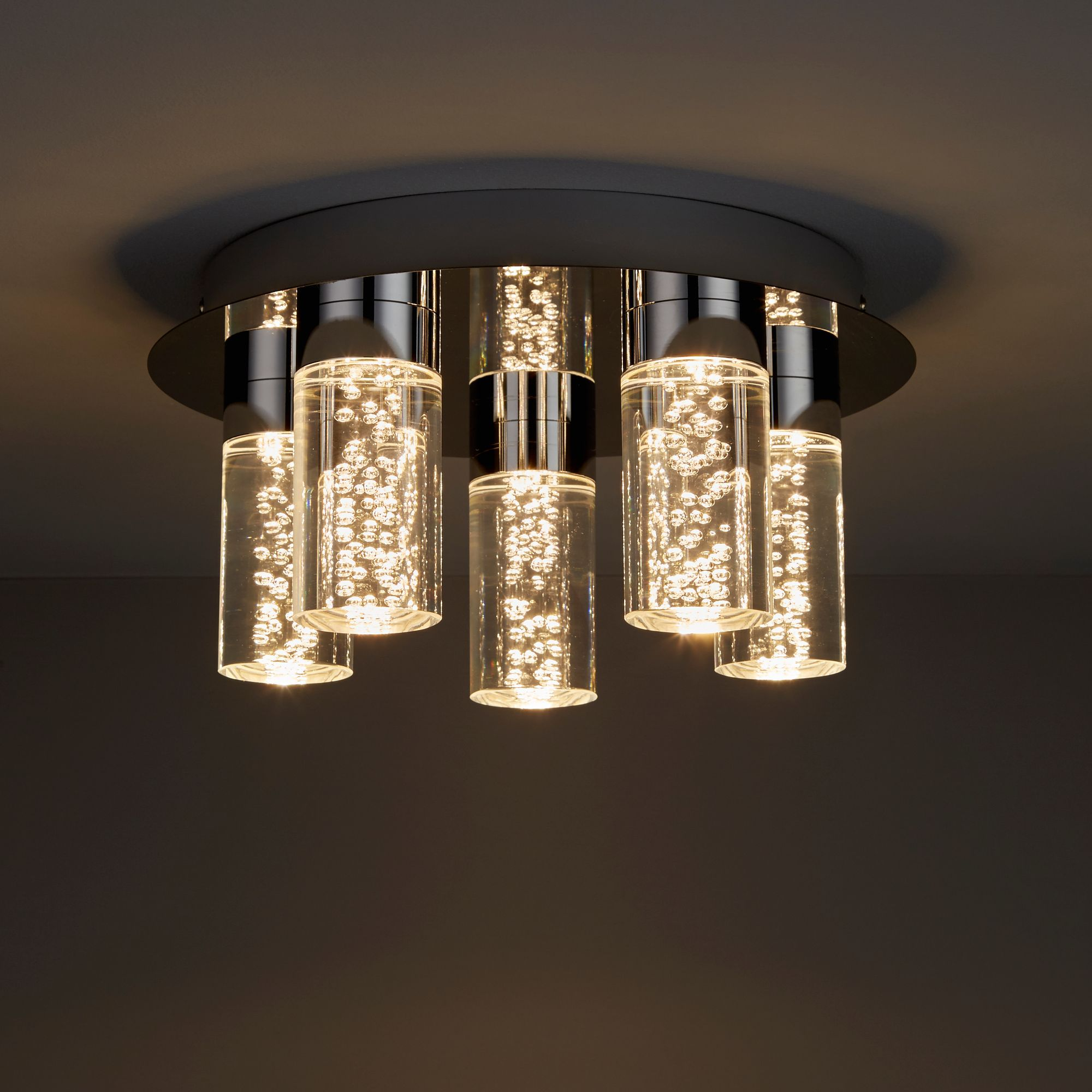 Hubble Brushed Chrome Effect 5 Lamp Bathroom Ceiling Light Departments Diy At B Q