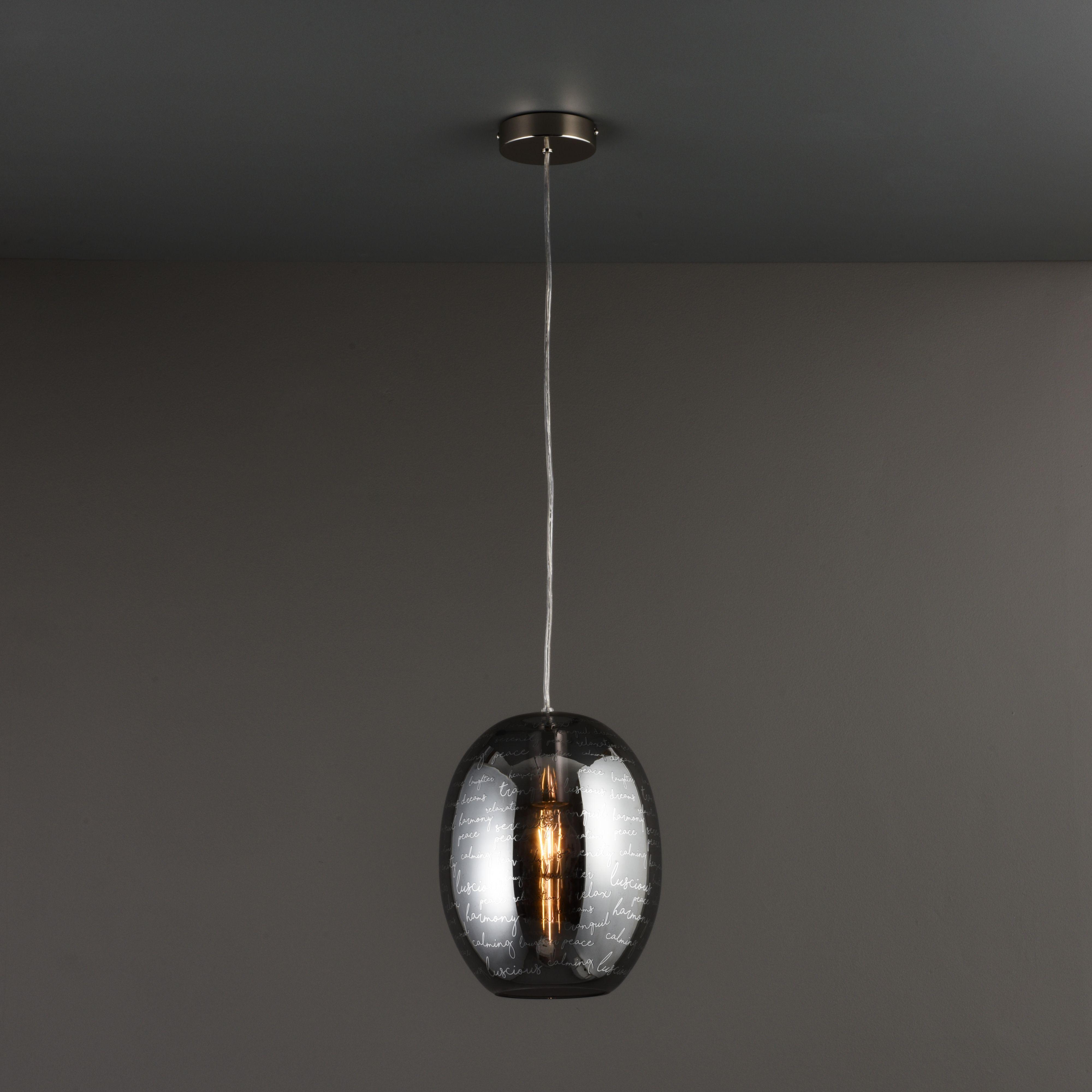 Jenessa Modern Satin Nickel Effect Ceiling Light
