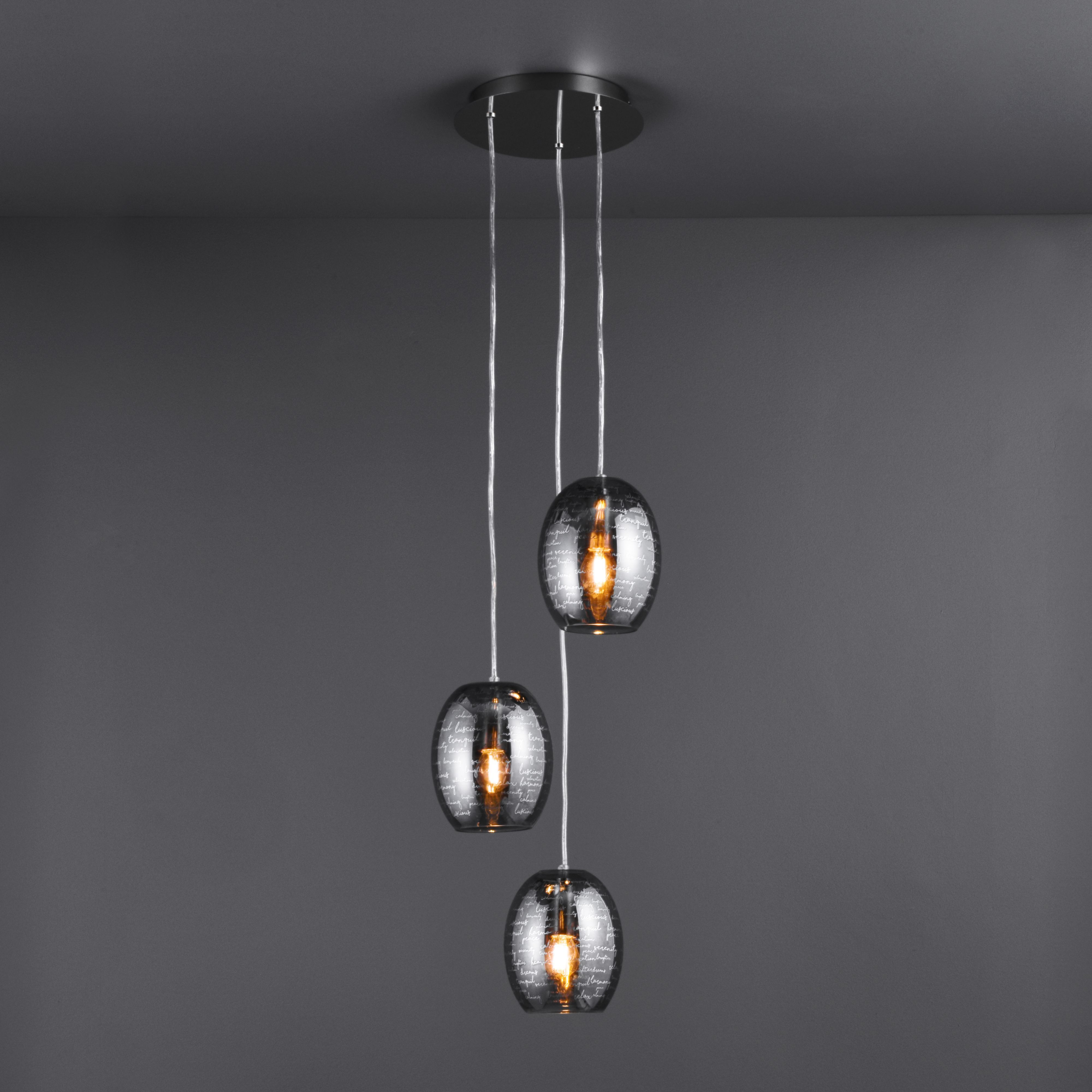Jenessa Modern Satin nickel effect 3 Lamp Ceiling