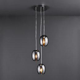 Jenessa Modern Satin Nickel Effect 3 Lamp Ceiling