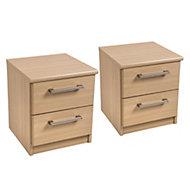 Form Elsey Oak effect 2 Drawer Bedside chest (H)444mm (W)386mm (D)375mm Set of 2