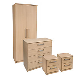 Elsey Oak Effect 4 Piece Bedroom Furniture Set