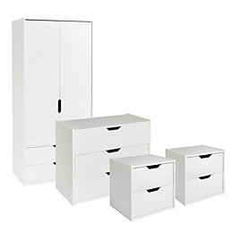 Hartnett White 4 piece bedroom furniture set