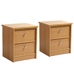 Kendal Oak effect 2 Drawer Bedside chest (H)560mm