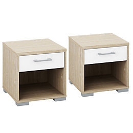 Evie White & Oak Effect 1 Drawer Bedside