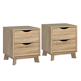 Metcalfe Oak Effect 2 Drawer Bedside Chest, Set
