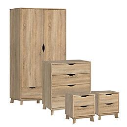 Metcalfe Oak Effect 4 Piece Bedroom Furniture Set