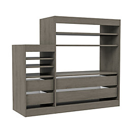 Form Perkin Grey Oak Effect Shelving & Drawer