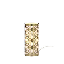 Fret Modern Satin Brass Effect Table Lamp
