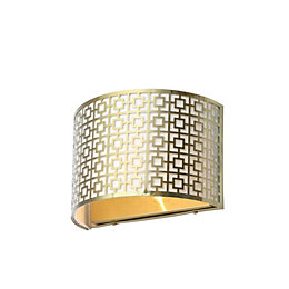 Fret Modern Satin Brass Effect Wall Light