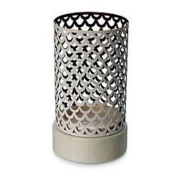 White Cut-out Ceramic & metal Candle holder, Small