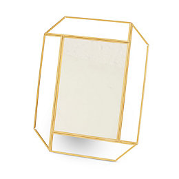 Geometric Brass Effect Framed Rectangular Mirror (H)253mm (W)