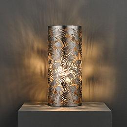 Karmina Modern Satin nickel effect Table lamp