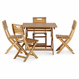 Denia Wooden 4 Seater Dining Set with 4