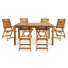 Denia Wooden 6 seater Dining set with 2
