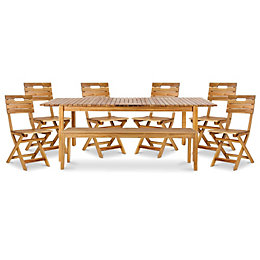 Denia Wooden 8 seater Dining set with 1