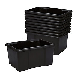 Fitty Black 26L Plastic Stackable Storage Boxes, Pack