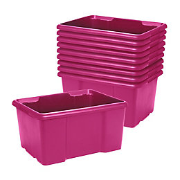 Fitty Pink 26L Plastic Stackable Storage Boxes, Pack