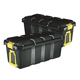 Skyda Black 111L Plastic Storage trunk, Pack of