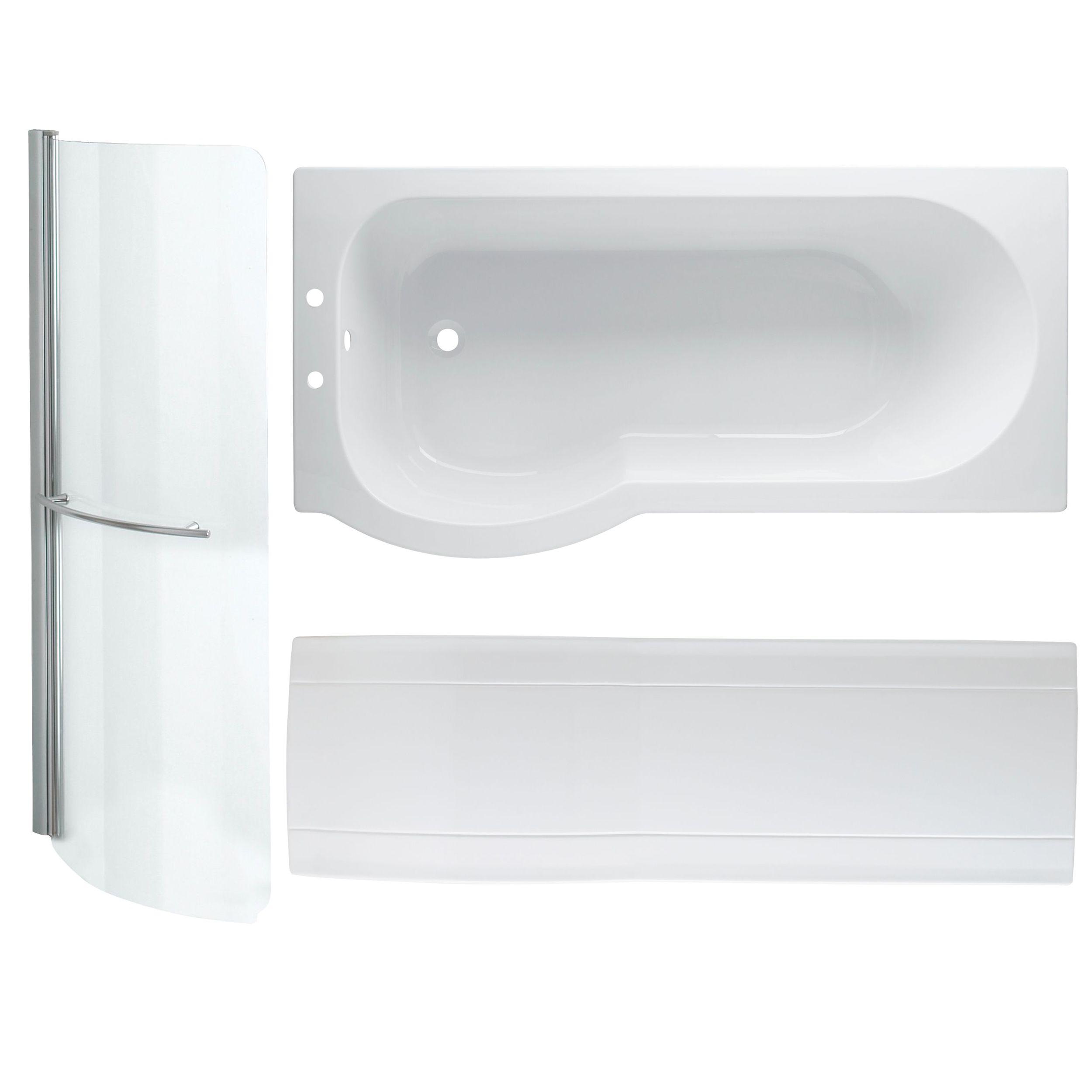 Cooke Lewis Adelphi P Shaped Shower Bath Panel Screen Set L 1675mm W 850mm Departments Diy At B Q