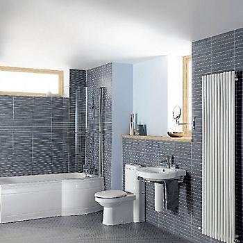 Cooke & Lewis Adelphi P shaped Shower Bath, panel & screen